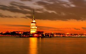 Istanbul, Istanbul, night, strait, lights, mosque, Sofia, spire, evening, sunset