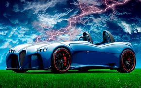 concept car, nature, lightning.