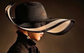 шляпа, стиль, серьги, губы