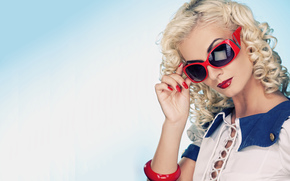 блондинка, обои, очки, губы, помада, взгляд