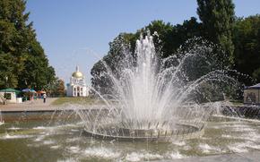Poltava, park, FOUNTAIN, JETS, spray, church
