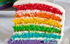 cake, торт, слой, цвет, радуга, глазурь, праздник