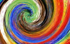 картина, холст, спираль, цвет, радуга, водоворот