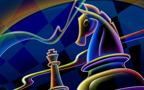 абстракция, шахматы, конь, клетки, синий, 2014