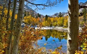 优胜美地国家公园, 秋, 湖, 山, 景观