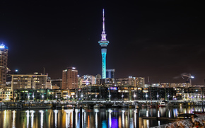New Zealand, Auckland Sky Tower, night