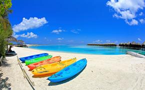 马尔代夫, 岸, 船, 平房, 景观