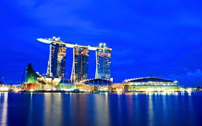 Сингапур, Singapore, город, ночь, огни