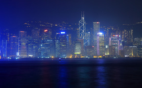 香港, 都市, 夜