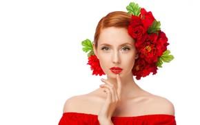 цветы, взгляд, плечи, губы