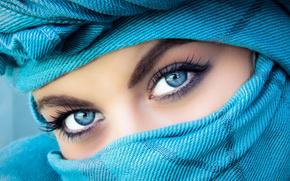 volto, occhi, ragazza, SCIALLE, visualizzare