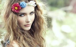 взгляд, веночек, цветы, природа