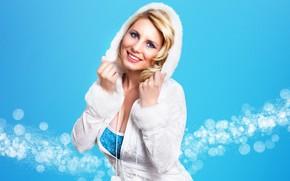 блондинка, взгляд, улыбка, капюшон, снегурочка