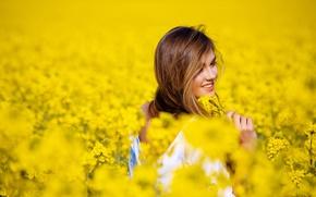 улыбка, природа, цветы