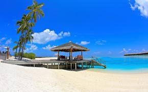 马尔代夫, 马尔代夫, 平房, 天空, 景观