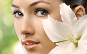 лицо, глаза, взгляд, цветок, лепестки, макро, лилия