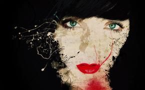 девушка, глаза, губы, помада, взгляд