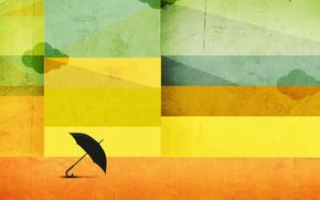 paraguas, banda, línea, NUBES, nubes