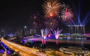 Singapur, fuegos artificiales, noche, 2014, Año Nuevo