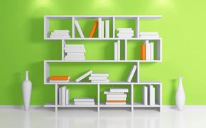 interior, estante, Libros, florero