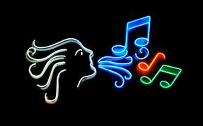 neon, advertising, lights, light, singing, music