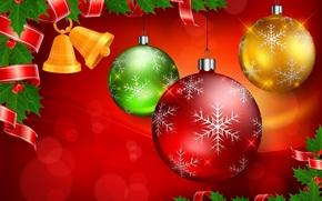 Natale, Palloncini, PATTERNS, Palline, Fiocchi di neve, nastro, Capodanno