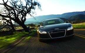 Audi R8, дорога, скорость, горы