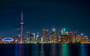 Toronto, lights, Canada, Ontario, night