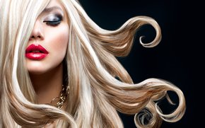 blonde, lips, pomade, makeup