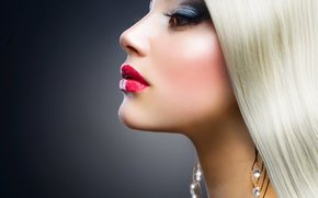 blonde, ansehen, Lippen, Pomade