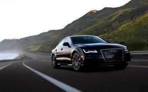 Audi A7, Audi, Black, Mountains, road