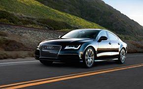 Audi A7, Ауди, черная, горы, дорога