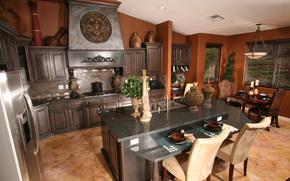 interno, stile, progettazione, domestico, villa, stanza, cucina