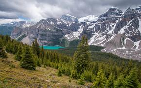Moraine Lake, Valley of the Ten Peaks, Banff National Park, Alberta, Canada, Озеро Морейн, долина Десяти пиков, Банф, Альберта, Канада, горы, лес, озеро