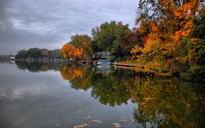 autunno, fiume, alberi, imbarcazione, paesaggio