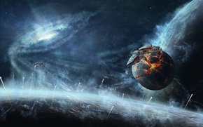 арт, космос, планеты, корабли