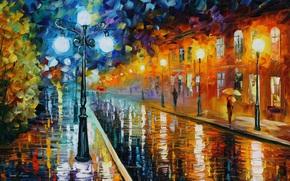 Leonid Afremov, linterna, lluvioso, tiempo, casa, carretera, personas, paraguas