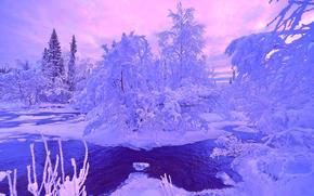 invierno, río, nieve, paisaje