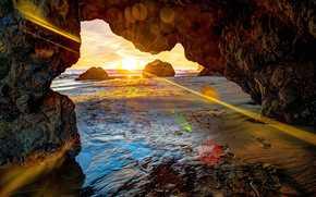 mare, puntellare, Rocce, tramonto, paesaggio
