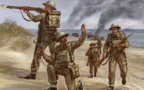 Британские солдаты, война, стреляет