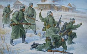 German soldiers, WWII, infantry, grenade, winter