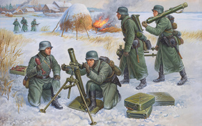German soldiers, mortar, WWII, war, winter, cold