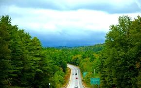 Vermont, Canada meridionale, stradale, alberi, paesaggio