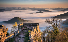 Wegelnburg, Pfalz, Germany, Mountains, Hills, fog, view of the old fortress