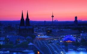 Catedral de Colonia en el crepúsculo, Alemania, ciudad