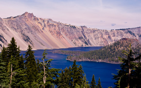 Crater Lake, Oregon, lake, Mountains, landscape