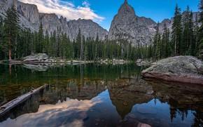 Mirror Lake, Montañas, árboles, paisaje