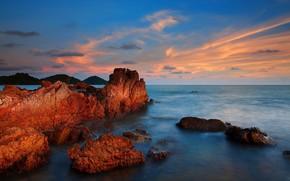 mar, puesta del sol, Rocas, paisaje