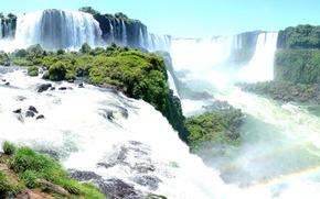 водопады игуасу, панорама, радуга