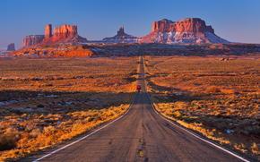 канон, горы, дорога, пустыня, США